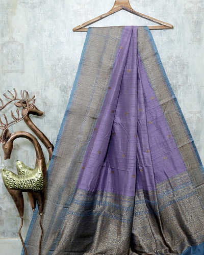 LIGHT PURPLE RAW SILK BANARASI HANDLOOM SAREE