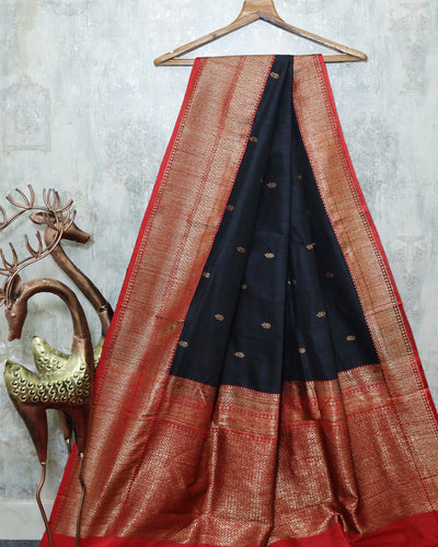 BLACK RAW SILK BANARASI HANDLOOM SAREE