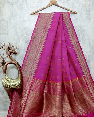 PURPLE PINK RAW SILK BANARASI HANDLOOM SAREE