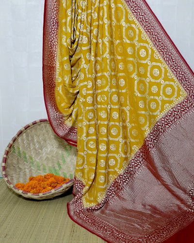 MUSTARD YELLOW MONGA SILK BANARASI HANDLOOM SAREE