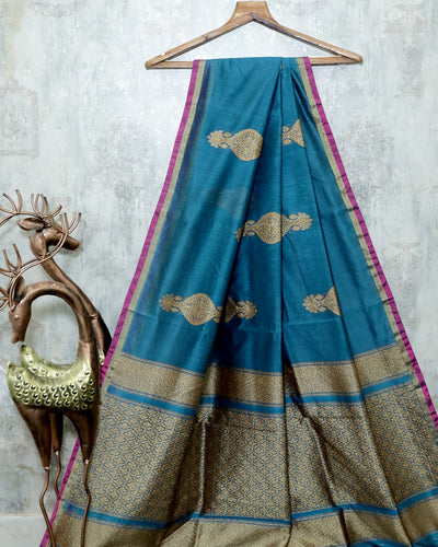 TEAL GREEN CHANDERI SILK BANARASI HANDLOOM SAREE