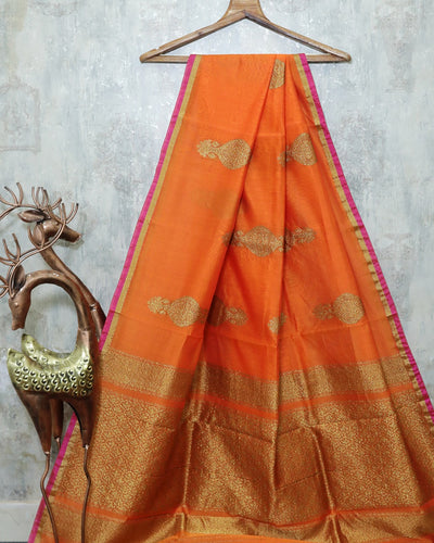 ORANGE CHANDERI SILK BANARASI HANDLOOM SAREE