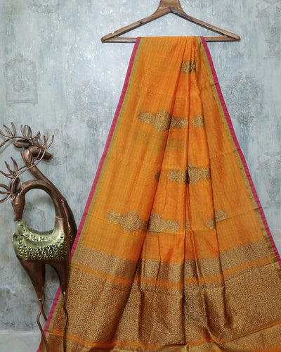 LIGHT ORANGE CHANDERI SILK BANARASI HANDLOOM SAREE