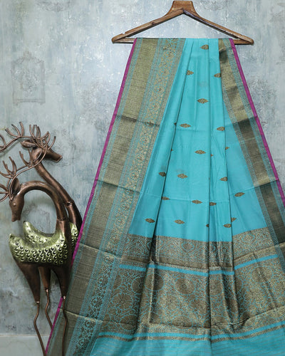 SKY BLUE CHANDERI SILK BANARASI HANDLOOM SAREE