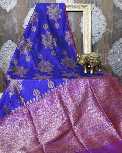ROYAL BLUE RAW SILK BANARASI HANDLOOM SAREE