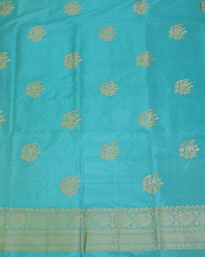 SEA GREEN KADHWA KATAN SILK BANARASI HANDLOOM SUIT