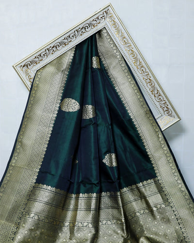 DARK BOTTLE GREEN KADHWA SATIN KATAN SILK BANARASI HANDLOOM SAREE