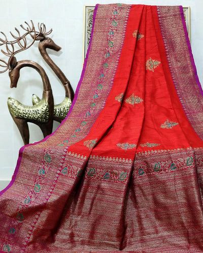 RED MEENA BUTA RAW SILK BANARASI HANDLOOM SAREE