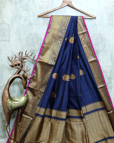 NAVY BLUE MEENA BUTA CHANDERI SILK BANARASI HANDLOOM SAREE