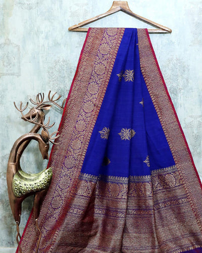 ROYAL BLUE DUPION SILK BANARASI HANDLOOM SAREE