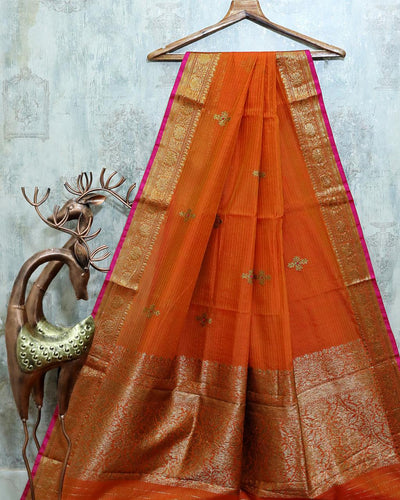 ORANGE MEENA BUTA CHANDERI SILK BANARASI HANDLOOM SAREE