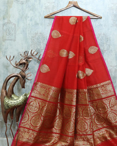 RED CHANDERI SILK BANARASI HANDLOOM SAREE