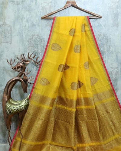 YELLOW CHANDERI SILK BANARASI HANDLOOM SAREE