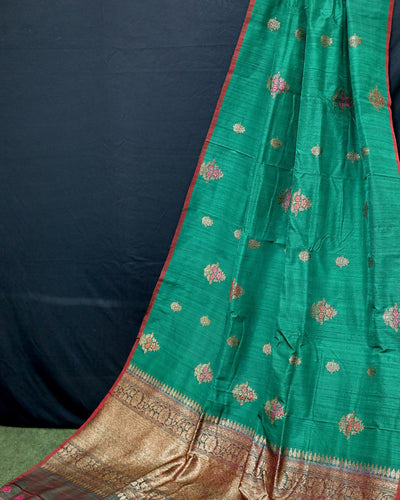 GREEN MEENA BUTA RAW SILK BANARASI HANDLOOM SAREE