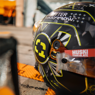 A Closer Look at Lando's Quadrant Bahrain GP Helmet