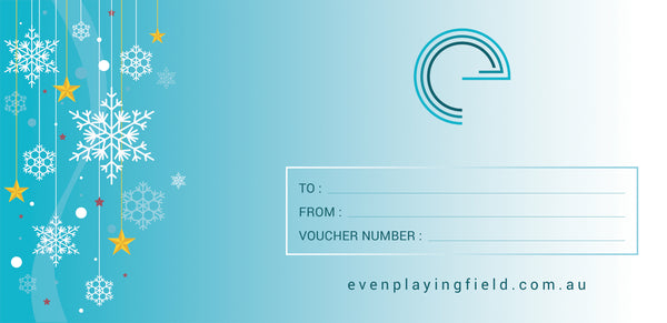 The back of the Gift Certificate is a lighter teal blue with the snowflakes on it also. It has even playing field's graphical mark and evcher. enplayingfield.com.au either side of a box. In the box there is space for the information to be completed. To: From: and Voucher Number: