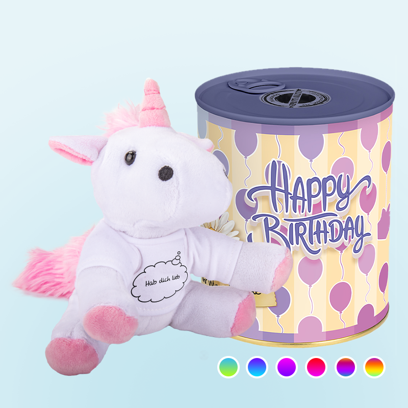 Happy Birthday Dose Plüschtier Einhorn (5679175401637)