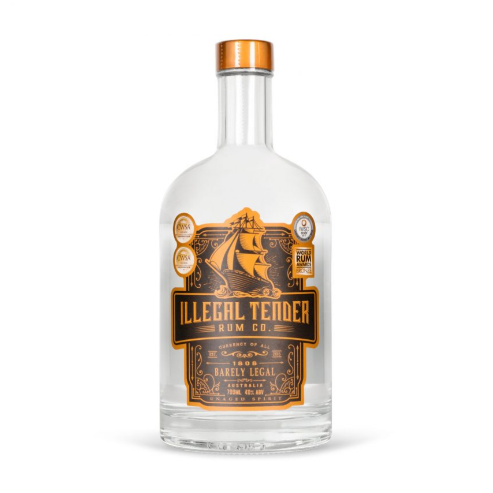 Illegal Tender 1808 Barely Legal White Rum | 6 x 700ml Bottle Carton | 40% ABV