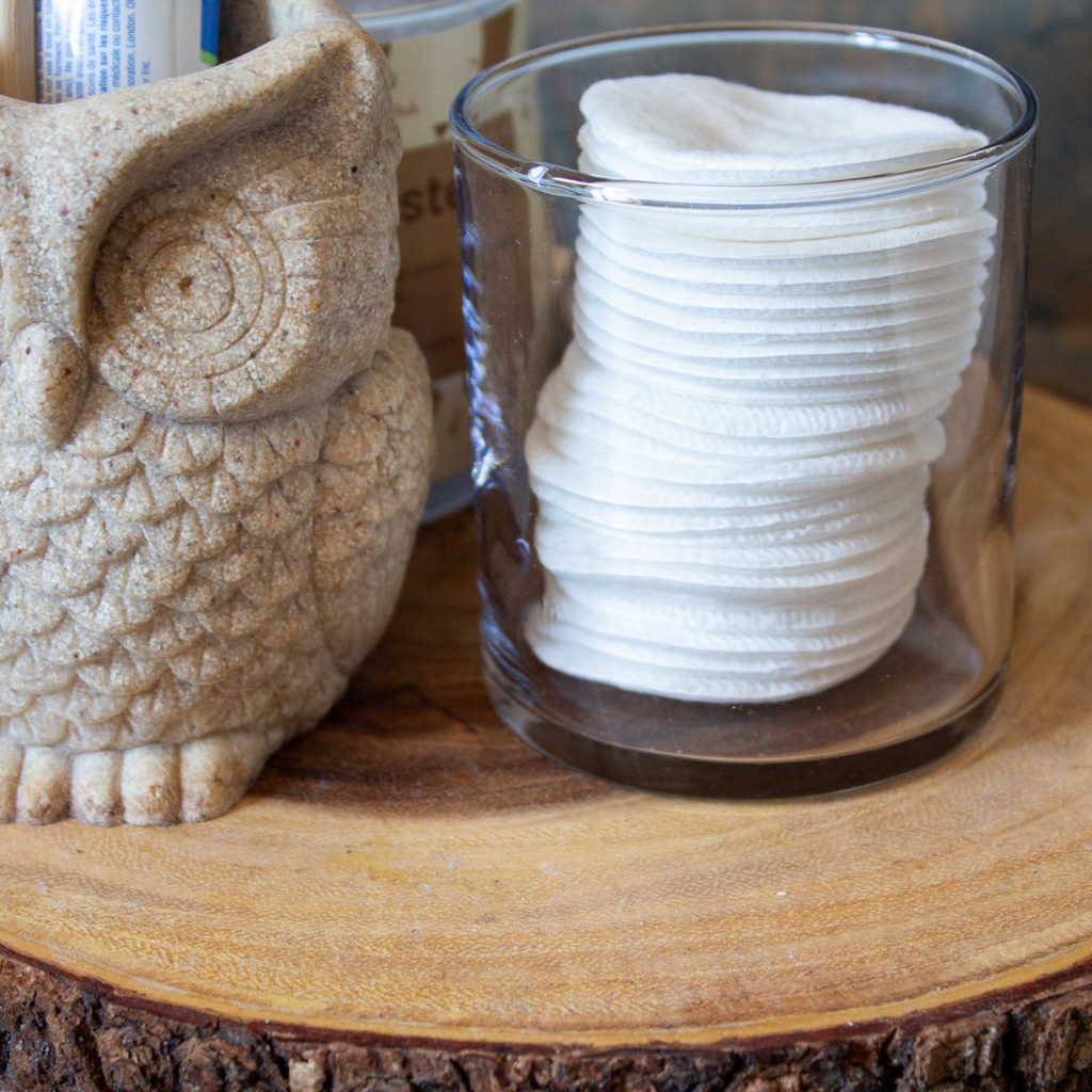 Cotton rounds in reusable glass jar