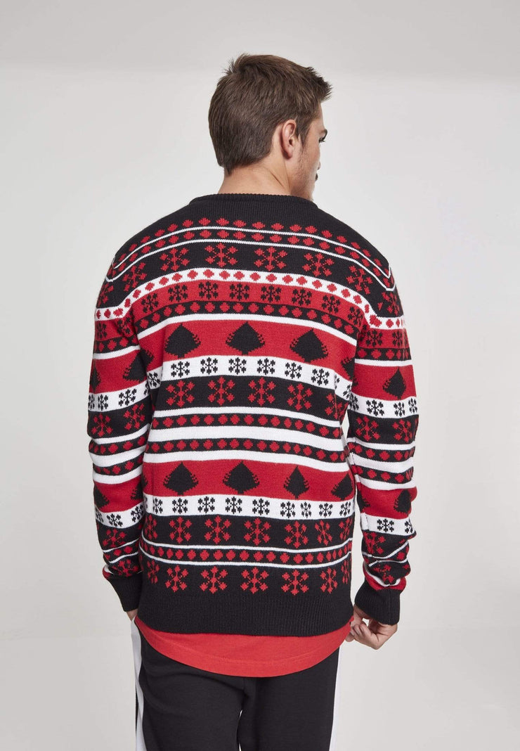 Men's Clothing Snowflake Christmas Tree Sweater - Black Red White