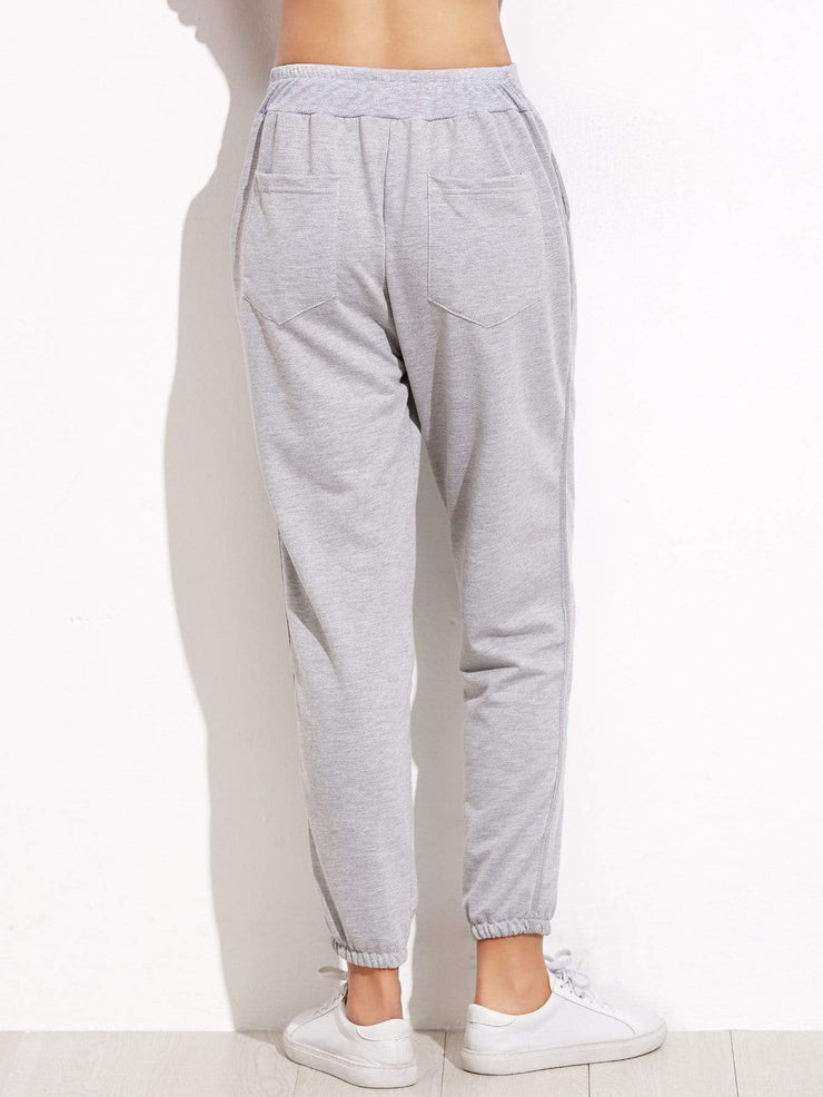 Pants Grey Elastic Waist Pocket Pants
