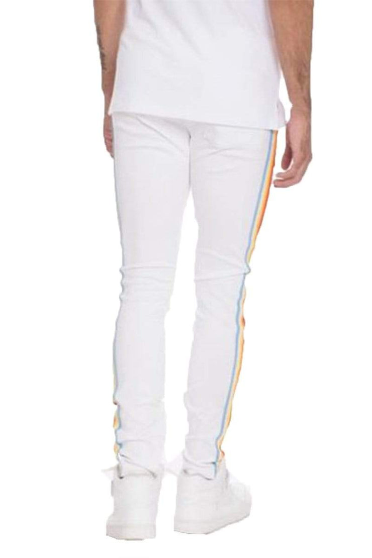 Pants FULL RAINBOW TAPED TRACK PANTS-WHITE