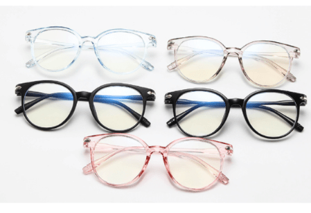 Pink Unisex Glasses Frame Anti Blue Light Eyeglasses Frame Vintage Round Clear Lens
