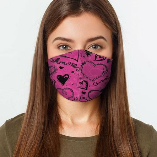 Women's Clothing L / Multicolored Pink Love Hearts Face Cover