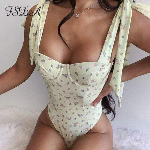 Bodysuits L / Yellow Floral Print Women Bodysuit Summer/Bandage Backless Sexy Body Top