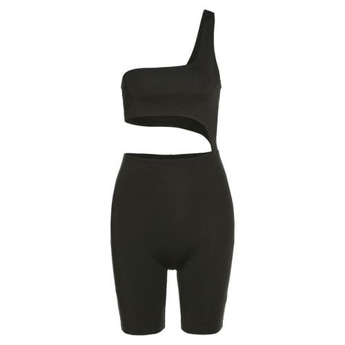 Jumpsuits & Rompers L / black Women Hollow Out Solid/One Shoulder Romper Elastic High Sleeveless set