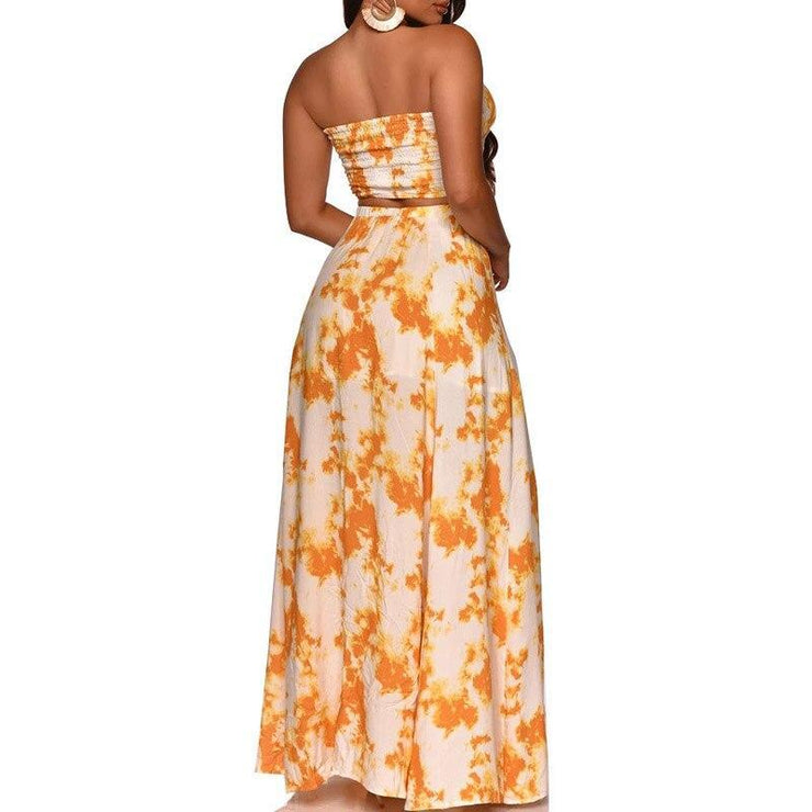 Matching Sets Elegant Floral Backless Party Dress / Two Piece Set