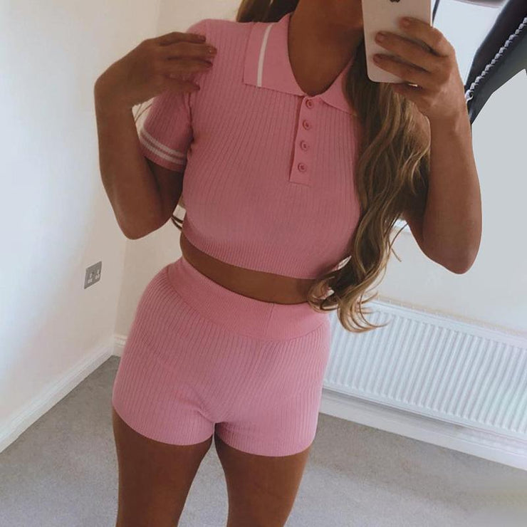 Matching Sets Fitness Tracksuit Women Two Piece Outfits Button Elastic
