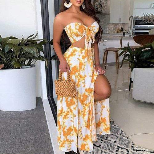 Matching Sets L / Floral Print Elegant Floral Backless Party Dress / Two Piece Set