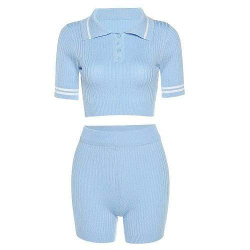 Matching Sets One Size / Blue Fitness Tracksuit Women Two Piece Outfits Button Elastic