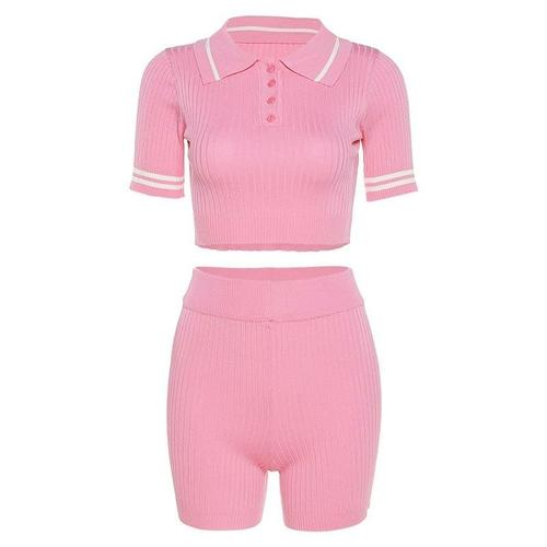 Matching Sets One Size / Pink Fitness Tracksuit Women Two Piece Outfits Button Elastic