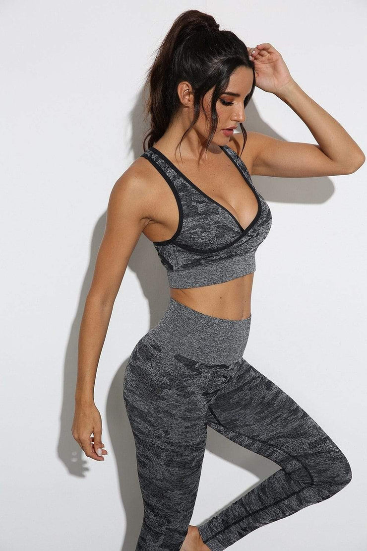 Women's Clothing Camouflage Camo Yoga Set Sports/Gym Fitness
