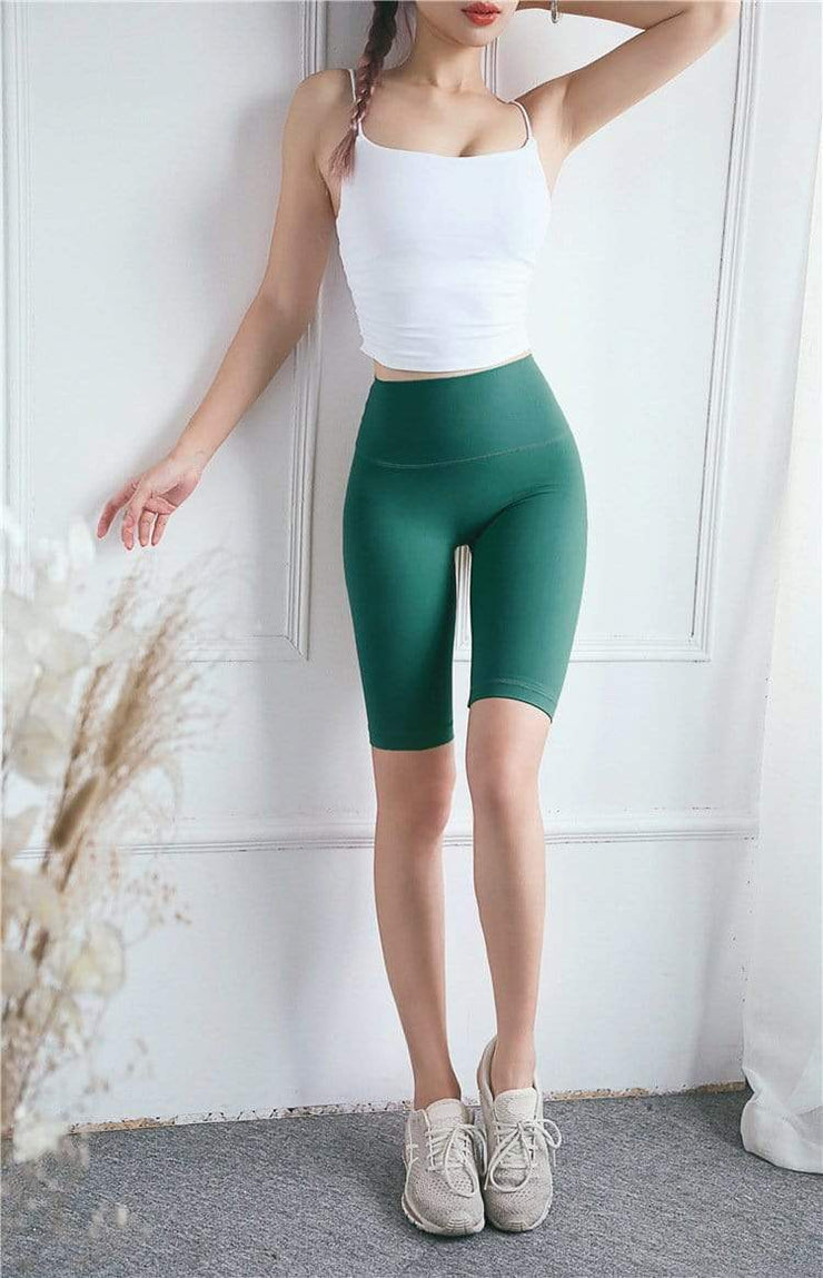 Women's Clothing Fitness Shorts Hot Chrysanthemum High Waist Tight