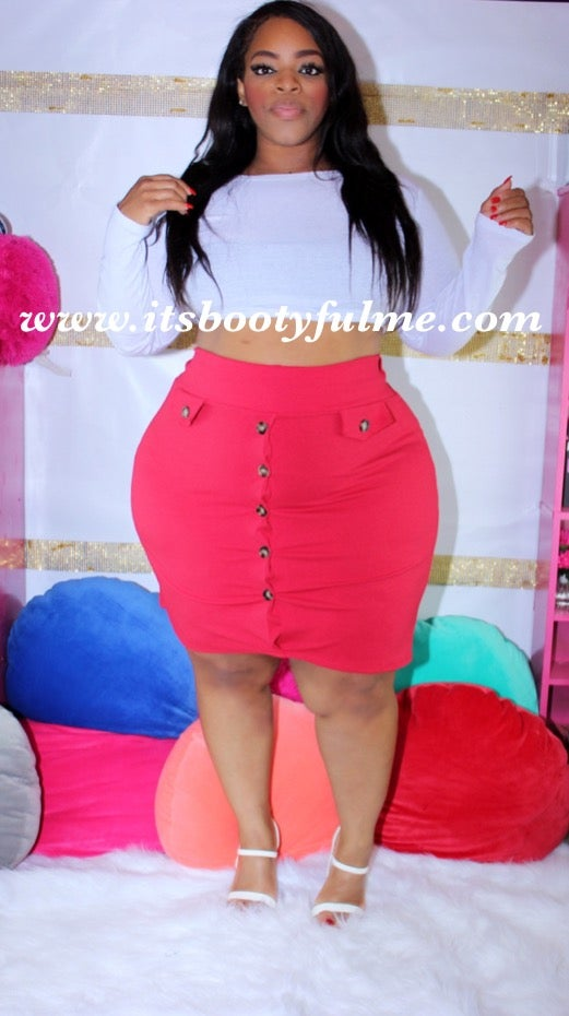 Buttons Up Skirt(Red)