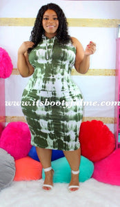 Tie Dye Green Hoodie Dress