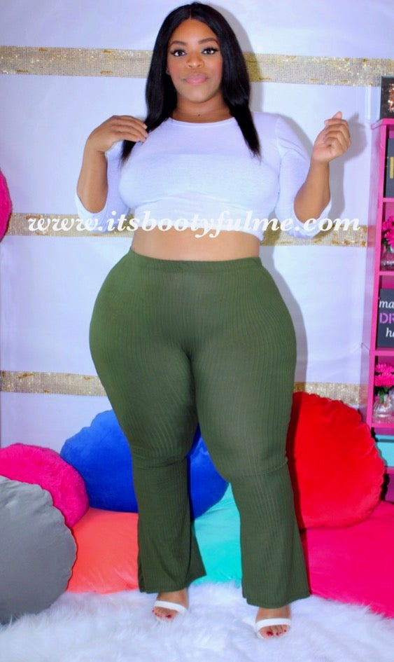 Olive Ribknit Bell Bottoms