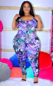 Purple Newsprint Jumpsuit-Black