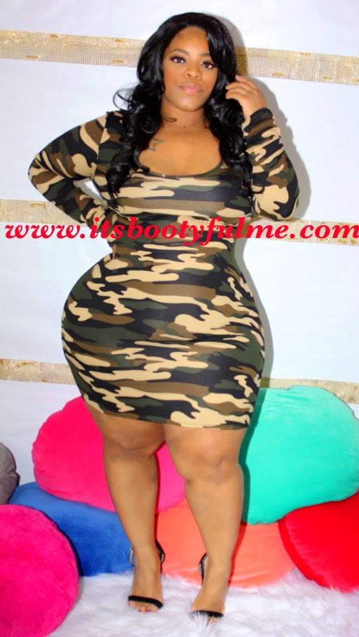 Camo Strappy Dress(Open Back)