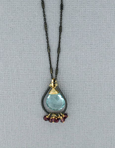 Blue Topaz Pendant with Rhodolite Garnet Beads