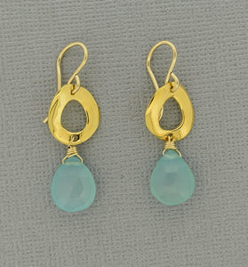 Chalcedony Earrings with 18K Vermeil Ear Wires