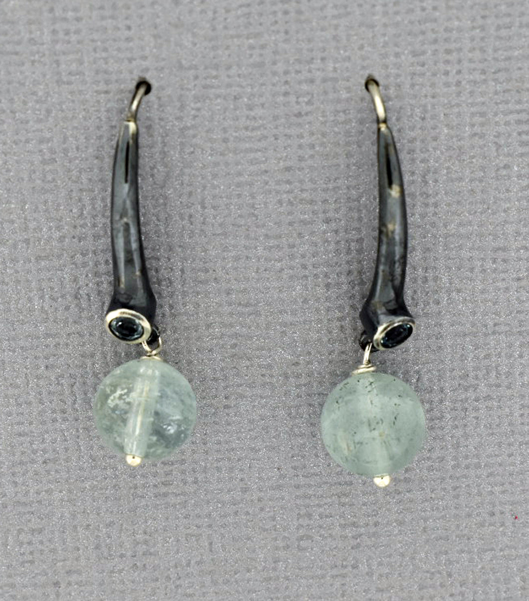 Sterling Silver Aquamarine Earrings with Oxidized silver ear wires
