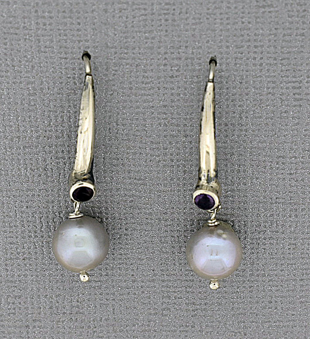 Sterling Silver Pearl Earrings with silver and Amethyst ear wires
