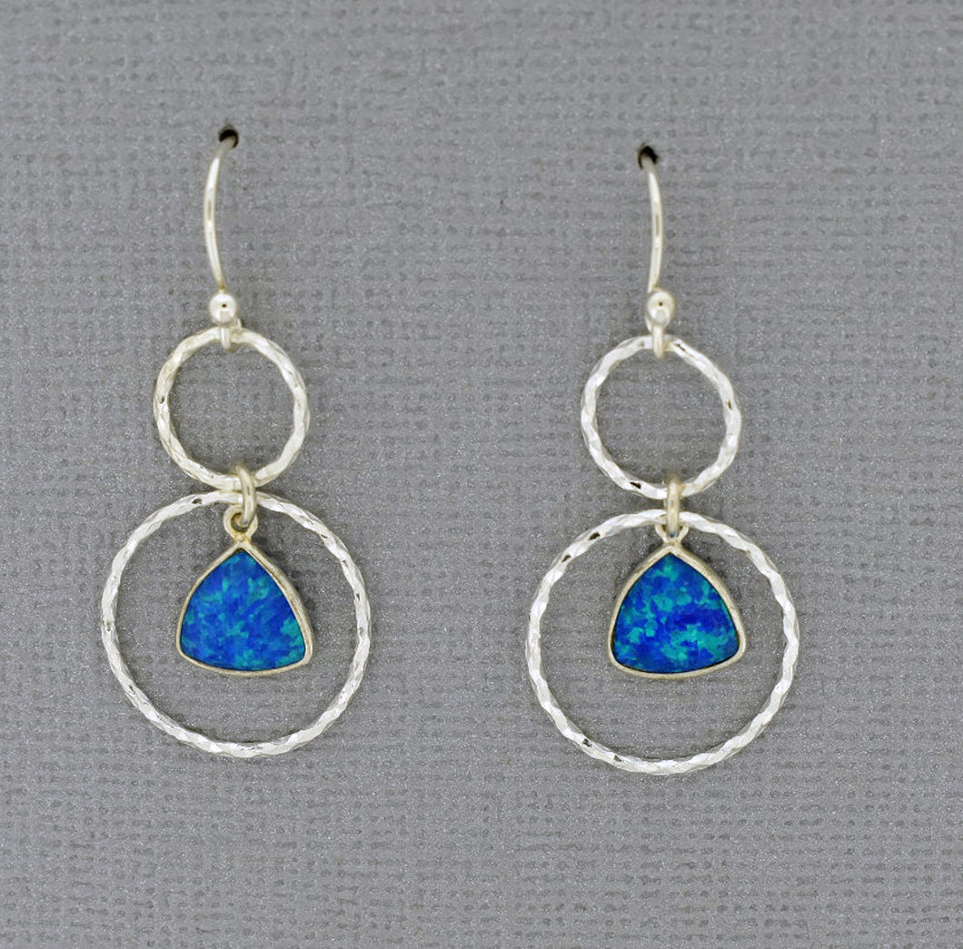 Circle Earrings in sterling silver with Opals