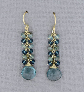 Blue Quartz Waterfall Earrings in Sterling Silver