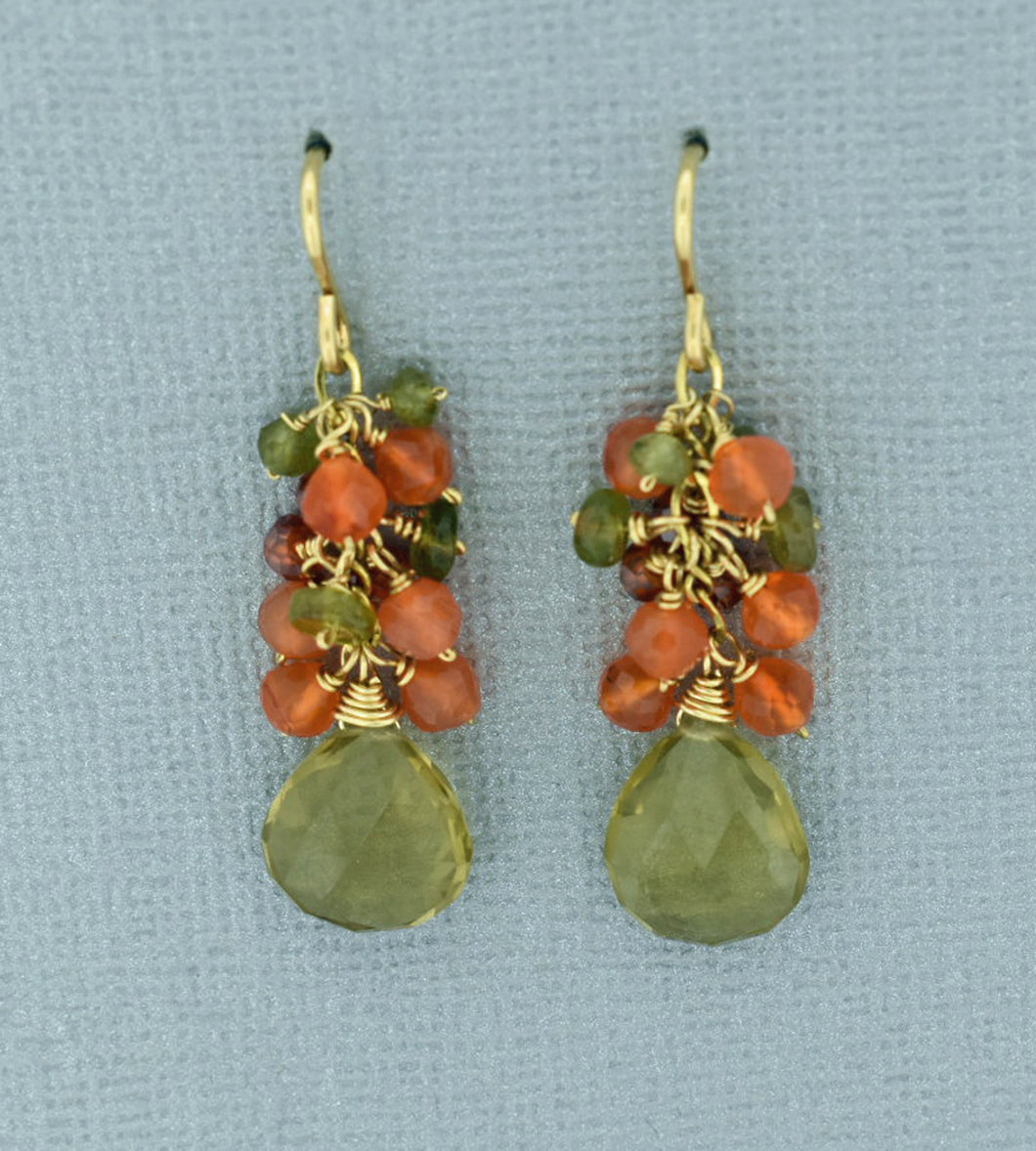 Citrine and Carnelian Waterfall Earrings