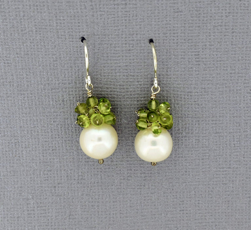 White Pearl and Peridot Sterling Silver Earrings